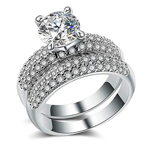 Paar Ringe 925 Silber / 18 Karat Gold DREI Reihen von Diamanten mit Zirkonringen Unisex (Farbe : Silber, größe : 7) - Drei-karat-diamant
