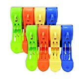 NUOLUX Large Pegs for Beach Towels Sunbed Holiday Plastic Quilt Clips 8pcs with 4 Color