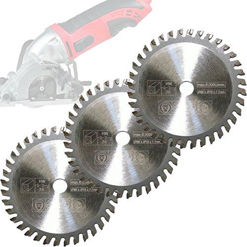 Preisvergleich Produktbild Mini Handkreissäge 3er-Set HM Sägeblatt Holz Ø 85x10mm 36 Zähne für Skil 5330 AA