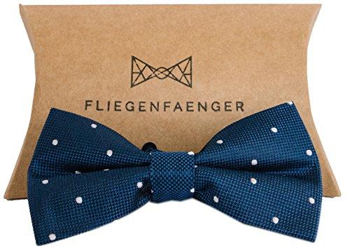 Fliegenfaenger Herren Fliege [Blau Weiß Gepunktet] Individuell Verstellbar und Vorgebunden inklusive Aufbewahrung Case/Das Keypiece für dein Outfit