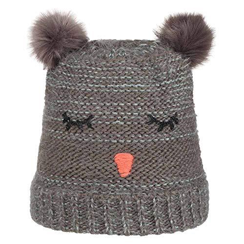 Nordbron 7159C003 Furry Kids Mütze Mädchen Kinder warme, süße, mehrfarbige Strickmütze für Kinder mit Zwei Bommel, Kindermütze, mit Fleece-Einsatz,Dark Gray