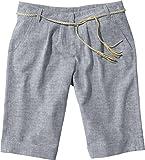 ESMARA® Damen Leinen-Shorts mit modischem Flechtgürtel (chambray blau, Gr. 36)