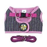 IEUUMLER Vest Geschirr Brustgeschirr für Hunde Einstellbar Weich Geschirr Sicher Kontrolle für Welpen kleine Hunde IE084 (S, Striped Rose Red)