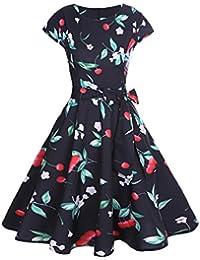 50er Vintage Kleider, Loveso ❤ Damen Elegant Audrey Hepburn Kleid Kurzarm  A-Linie 587bf4da45