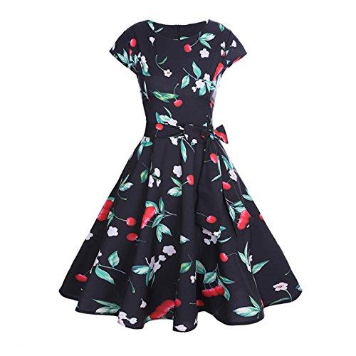 50er Vintage Kleider, Loveso  Damen Elegant Audrey Hepburn Kleid Kurzarm A-Linie mit Blumendruck...
