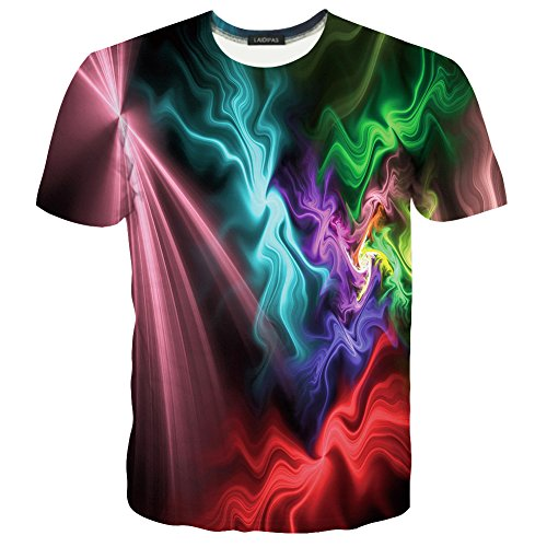 LAIDIPAS Unisex 3d Muster Gedruckte Farben-Streifen-Kurzschluss-Hülsen-T-Shirts M (Crewneck Grafik T-shirt Herren)