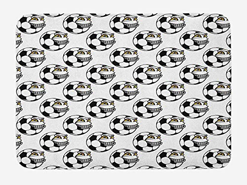 Soccer Bath Mat, Cartoon Football Mascot with Happy Funny Face Expression Sports Game Play, Plush Bathroom Decor Mat with Non Slip Backing, 15.7X23.6 inch, Black White Yellow