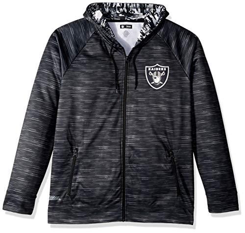 Zubaz NFL Male Kapuzenpullover mit durchgehendem Reißverschluss, Camouflagemuster, Herren, NFL Full Zip Camo Space Dye Hoodie, schwarz, XX-Large -