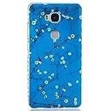 Huawei Honor 5X Hülle [Mit gehärtetem Glas-Bildschirmschutz], Grandoin (TM) modische flexible schöne Zeichnung aufgedruckte Muster-stoßabfangende-Gehäuse-Hülle, ausgezeichneter weicher Qualitäts-Silikon-Gummi Extra ultra dünnes buntes TPU Design-schützende Rückseiten-Abdeckungs-Hülle Ideal passend für Huawei Honor 5X