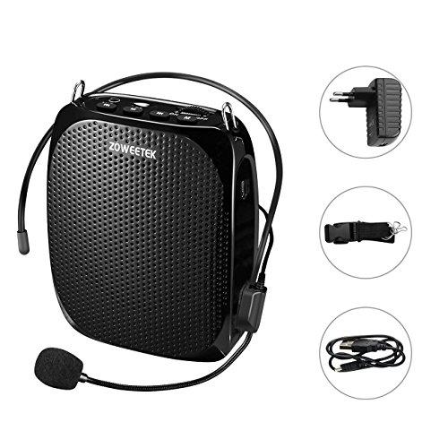 Zoweetek Amplificateur Voix Haut-Parleur Portable Ultraléger Rechargeable 1800mah Continue 8-15h avec Microphone pour les enseignants, entraîneurs, guides, présentations, costumes etc.
