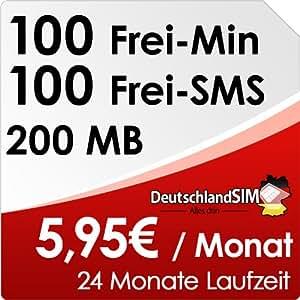 DeutschlandSIM ALL-IN 100 - 24 Monate Vertragslaufzeit (200MB Daten Flat, 100 Frei-Minuten, 100 Frei-SMS, 5,95 Euro/Monat) Vodafone-Netz [SIM & Micro-SIM]
