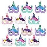 com-four® 12x Máscaras de unicornio para niños de diferentes colores [selección varía], máscaras para cumpleaños y fiestas temáticas (12 piezas - máscara unicornio)