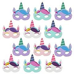 Idea Regalo - com-four® 12x Maschere Unicorno per Bambini in Diversi Colori [Selezione Varia], Maschere per Compleanni e Feste a Tema (12 Pezzi - Maschera di Unicorno)