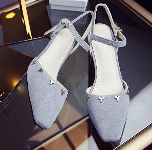 Les Nouvelles Chaussures Pour Femmes Baotou Mot À Talons Hauts Chaussures Décontractées Gris Clair