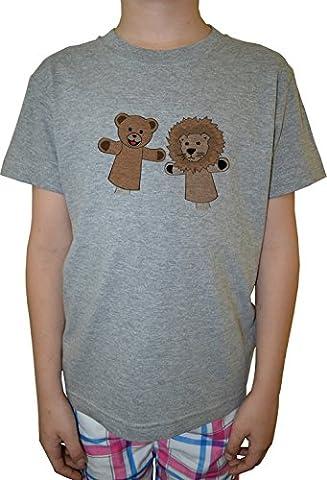 Marionnettes Garçon Enfants T-shirt Cou D'équipage Gris Coton Manches Courtes