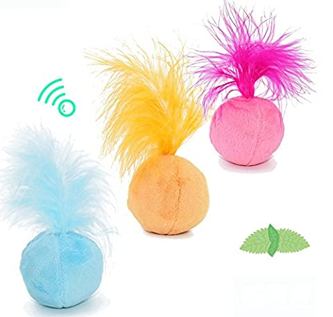 ByBetty Catnip Pet Toys For Cat Natural Ball and Feather Cat Toy 3 piece Pack