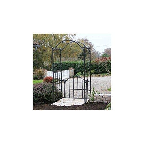 L'Héritier Du Temps Arche Portillon Classic Garden Portail Arche à Rosiers de Jardin en Fer Forgé Marron Martelé ou Gris Anthracite 71x120x228cm - Marron Martelé
