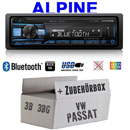 Autoradio Radio Alpine UTE-200BT Bluetooth USB MP3 | 1-DIN PKW KFZ 12V Einbauzubehör - Einbauset für VW Passat 3B + 3BG - JUST SOUND best choice for caraudio