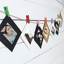 Bluelover 10pcs 3pulgadas álbum de papel para colgar cuadros de pared DIY marco de fotos con cuerda Clips Flim