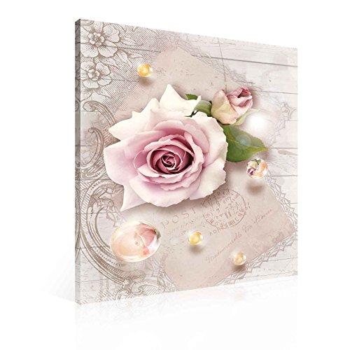 Blumen Rosen Rosa Tropfen Vintage Leinwand Bilder (PP2270O1FW) - Wallsticker Warehouse - Size O1 - 100cm x 75cm - 230g/m2 Canvas - 1 - Rosa Bild Rosen
