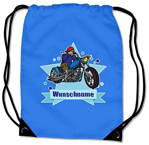 Samunshi® Turnbeutel mit Chopper-Motorrad und Name für Jungen und Mädchen personalisierbar personalisiert mit Namen Sportbeutel für Schule Sport Sporttasche Saphir blau (Garten-chopper)