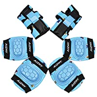 Aizhy Kids Protective Gear Set, 6 in 1 Kids Knee Pads Elbow Pads Set with Adjustable Strap for Rollerblading Roller Skates Cycling BMX Skateboard Inline Skatings Bike Scooter Riding Sports
