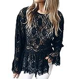 OSYARD Damen Mode Spitze Kleider, Frauen Langarm-Spitze Mode O-Neck Blouse T-Shirt Bluse Tank Tops (XL, Schwarz)
