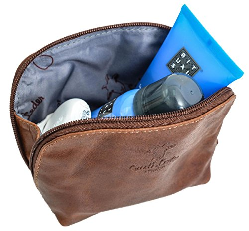 Beautycase in cuoio Make-up Bag Gusti Leder ''Leo'' astuccio per i Trucchi accessori viaggi impermeabile elegante marrone particolare 2A5-20-2wp