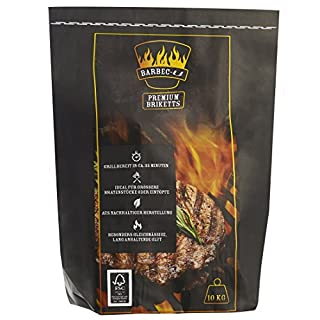 Barbec-U 10 kg Premium BBQ Charcoal Briquettes, Charcoal, Ready to Grill in approx. 35 minutes, FSC-certified, Coal for Grilling