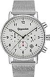 Orologio da uomo Gigandet Minimalism 2 fusi orari doppio fuso orario orologio argento analogico con bracciale in acciaio inossidabile Milanaise quadrante bianco design semplice G21-005