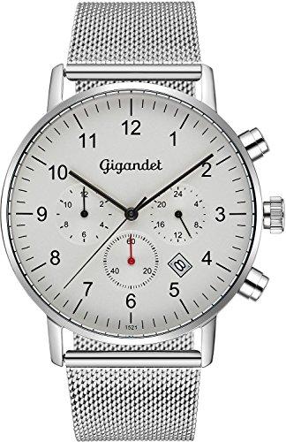 Gigandet – Reloj de pulsera para hombre Minimalism II, de acero inoxidable, con dos zonas horarias, analógico, fecha, correa de acero inoxidable Milanaise, plateado, blanco, G21-005