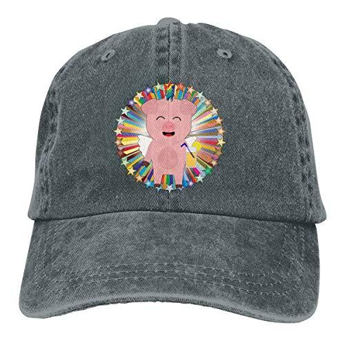 Trucker-Baseballmütze für Männer, Cute Cartoon Unicorn Pig with Orage Juice Unisex Low Profile Washed Baseball Caps Adjustable Dad Hat