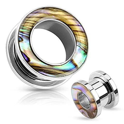 Paula & Fritz Beige Brown Green Purple Mother of Pearl Surrounded 5 mm Screw-On Stainless Steel Ear Tunnel 16 mm silver