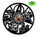 Meet Beauty Ding Fresco Avengers Superhéroes Reloj de Pared de Vinilo Vintage Reloj de Pared decoración para el hogar Idea de Regalo para Hombres niños niño Amigo