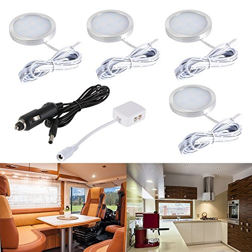 LED Auto Innenbeleuchtung Kit, 12V Warmweiß LED Kabinett Lichter mit Splitter und Auto-Ladegerät für Wohnmobil, Anhänger, Wohnwagen, Transporter, Van, LKW, Boot