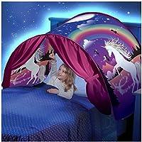 Tiendas de ensueño Tienda de Campaña Infantil Play Cama Tienda Gesundhome Mundo Mágico Carpa de Ensueño Pop Up Dream Tents Casa de Juego para Niñosn Regalo de Navidad y Cumpleaños - Twin Tamaño(Unicornio)