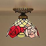 Tiffany Modern Zeitgenössisch Deckenleuchte Kreativ Eisen Glas Lampenschirm 1-Flammig Rund Kunst Deckenlampe Wohnzimmer Esszimmer Schlafzimmer Landhausstil Deckenbeleuchtung E27 Max.60W Ø20cm * H20cm