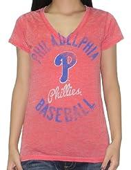 MLB Philadelphia Phillies femmes V-Neck T-Shirt (Vintage Look)