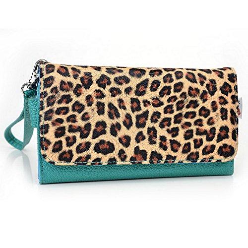 Kroo Pochette Téléphone universel Femme Portefeuille en cuir PU avec sangle poignet pour SHUKAN Q500millénaire Ultra/Gloire Q5 Violet - violet Multicolore - Emerald Leopard