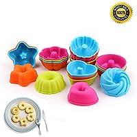 Set di 24 stampi in silicone per dolci, a forma di zucca, stella, fiore, cuore, ideali per mini torte e savarin
