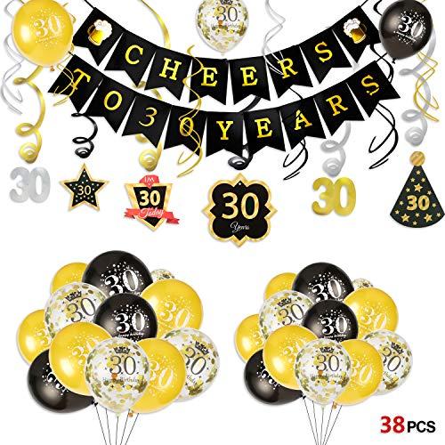 Howaf 30. Geburtstag deko, Cheers zum 30. Geburtstag Banner und Deckenhänger Spiral Girlanden, 25 schwarz und Gold Luftballons Konfetti Ballons für Männer und Frauen 30. Geburtstags Party Dekoration