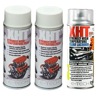 E-Tech 400ml XHT VHT Very High Temperature Paint 2 x WHITE 1 XHT Clear Lacquer for Car Engine Block Exhaust Metal Surface