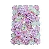 MagiDeal Künstliche Seiden Blume Wand, Diy Hochzeit Hauptstraße Dekoration - Rosa Weiß