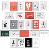 25 handgemachte Weihnachtskarten Teil 1: Hochwertiges Weihnachtskarten Postkarten Set mit Detailverliebten und Hand designten hochwertigen Postkarten mit Sprüchen und Zitaten