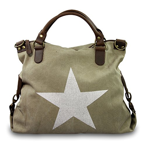 IO.IO.MIO. Italia grande Shopper Pelle Tela Mix Stelle Colore A Scelta , 40x35x15 cm (B x H x T) Beige (Dark beige)