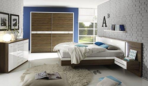 Dreams4Home Schlafzimmer Set 'Marlené' - Kleiderschrank, Schrank, Schwebetürenschrank, 2xNaKo´s, Bett 180x 200 cm inkl. Beleuchtung, 5...