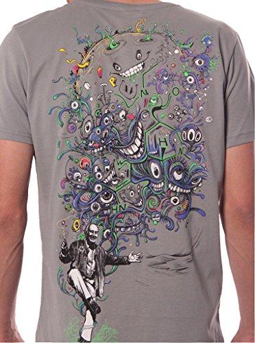 Street Habit Herren T-Shirt mit Albert Hoffman LSD Psychadelischem Street Fashion Muster - handgefertigt durch Siebdruck auf 100% Baumwolle Grau