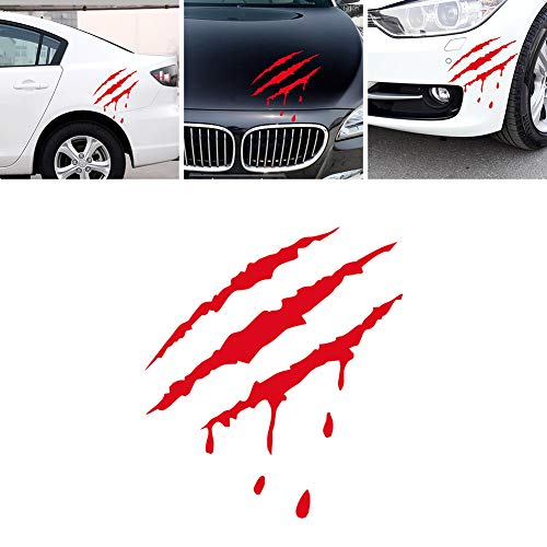 Dandeliondeme Auto Styling Reflektierende Monster Klaue Mark Scratch Blutige Aufkleber Vinyl für Notebook Skateboard Snowboard Gepäck Koffer MacBook Auto Fahrrad Stoßstange rot