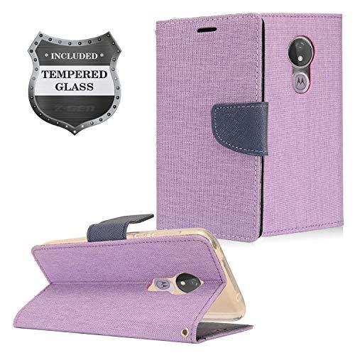 Z-GEN - Motorola Moto G7 Power (U.S. Version) G7 Supra XT1955 - Flip Wallet Case Cover + Displayschutzfolie aus gehärtetem Glas, CT5 Dark Blue/Purple