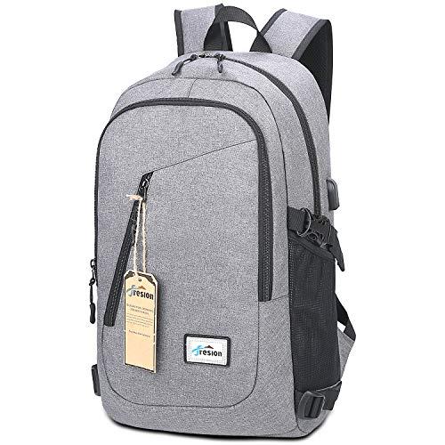 Laptop Rucksack mit USB Ladeanschluss | Fresion Oxford College Schulrucksack Jungen Mädchen Teenager Groß Schultasche für 15 Zoll Notebook Lenovo (Grau)